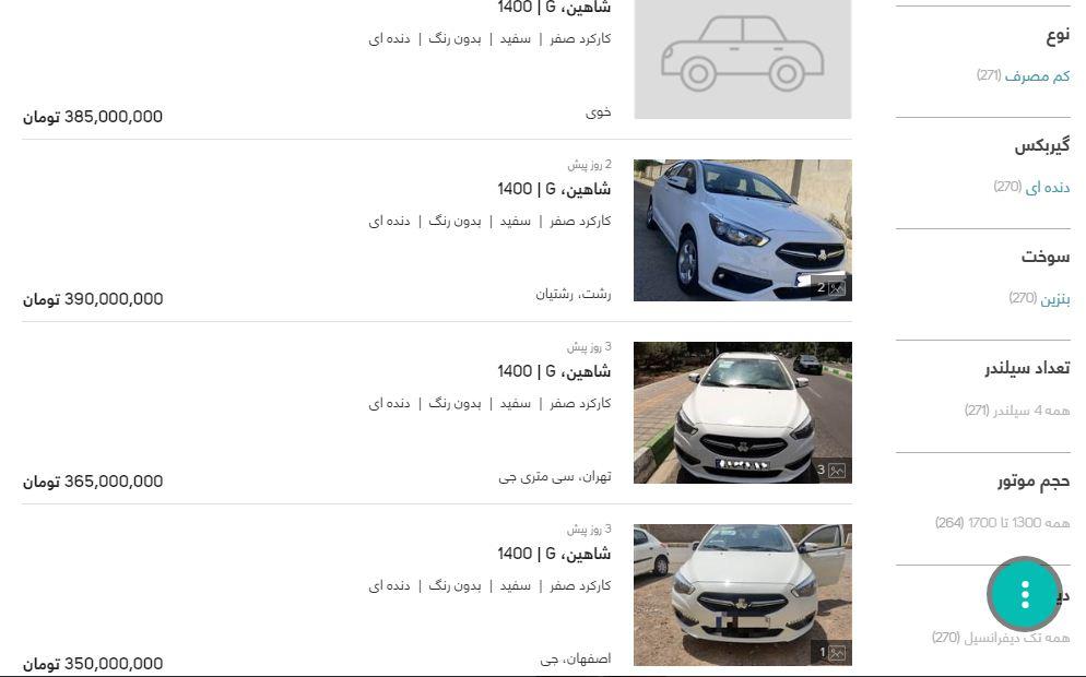 قیمت شاهین سایپا