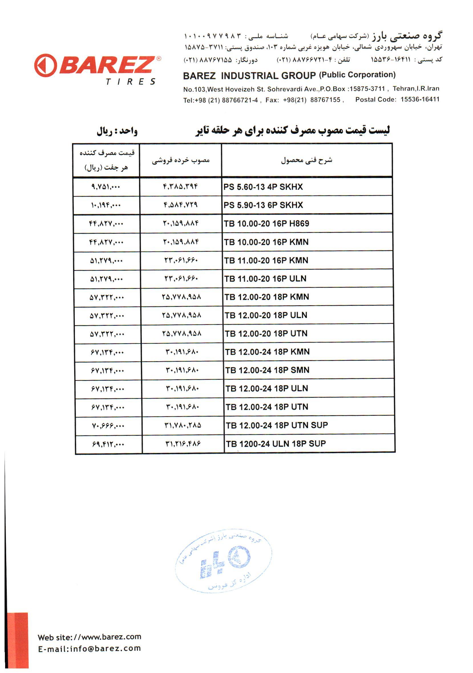 قیمت لاستیک دولتی لیست قیمت لاستیک بارز در آذر ماه 99 - 3