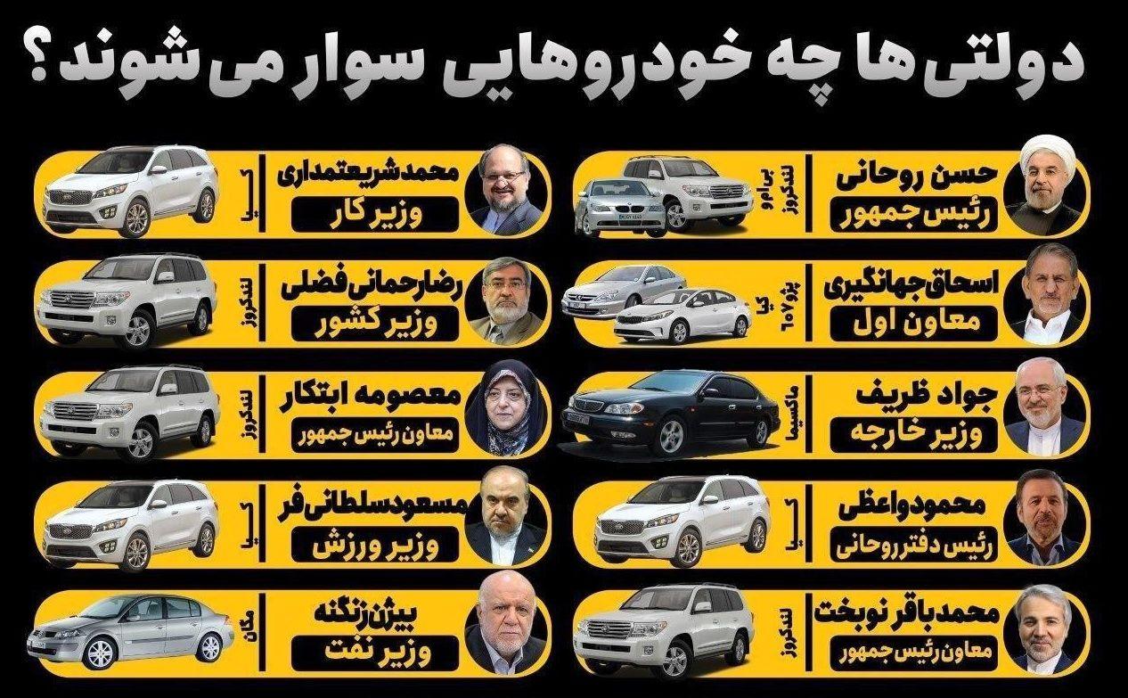 دولتی ها چه خودروهایی سوار می شوند؟