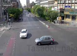 لحظه تصادف شدید خودرو دنا و پژو 206