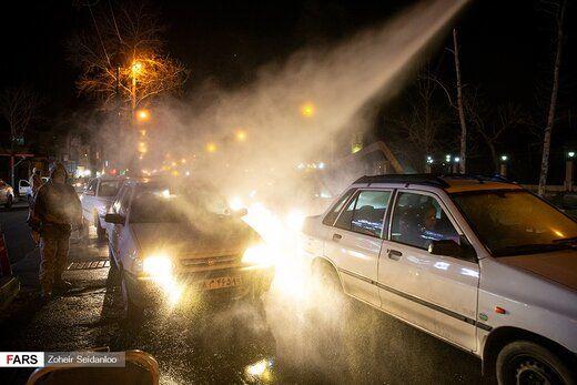 ضدعفونی خودروها توسط گروه جهادی حضرت موسی بن جعفر